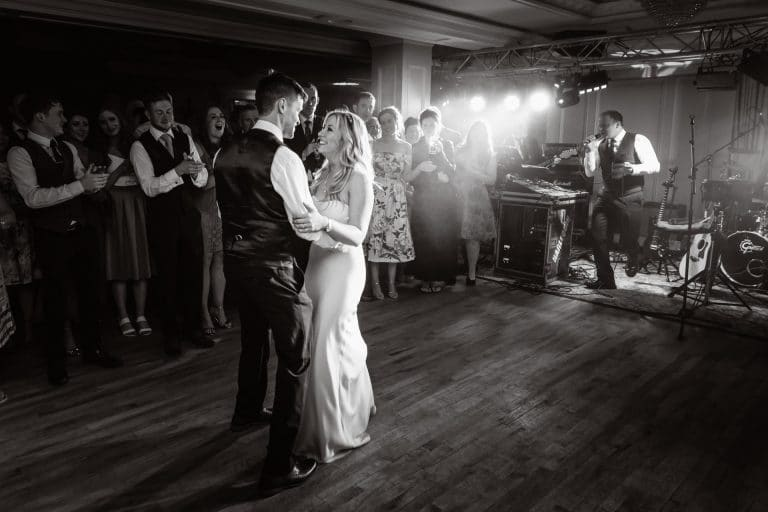 Wedding couple first dance at Bellingham Castle