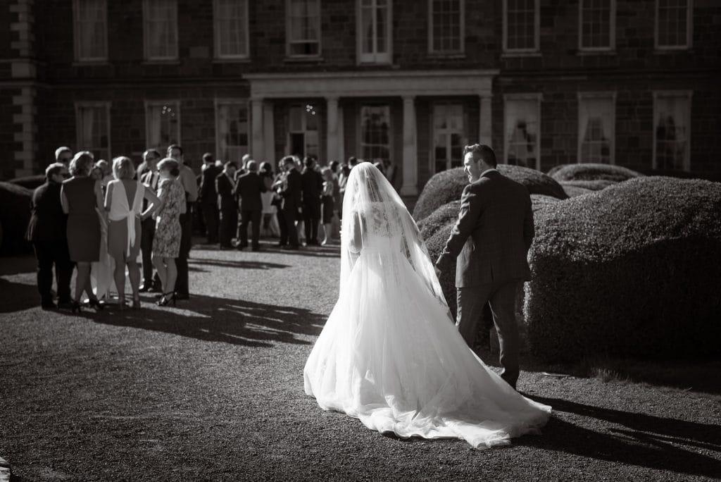 Wedding couple at wedding reception in Carton House