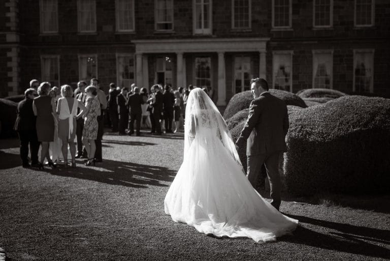Wedding couple at wedding reception in Carton House