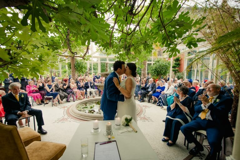 Wedding couple kiss under tree in Kilshane House