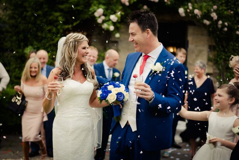 Wedding couple showered with confetti at Kinnitty Castle