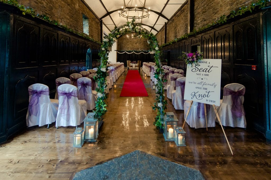 Civil wedding ceremony set up in Kinnitty Castle long room