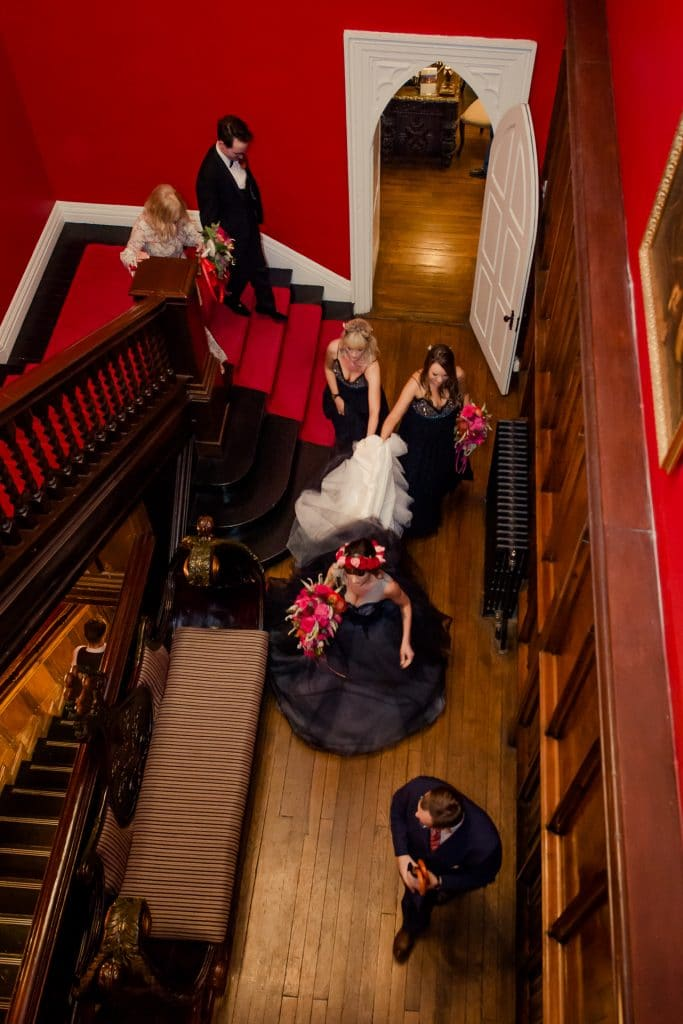 Bridal party on stairs in Kinnitty Castle