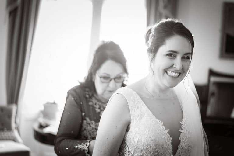 Smiling Bride during bridal preparations at Kinnitty Castle