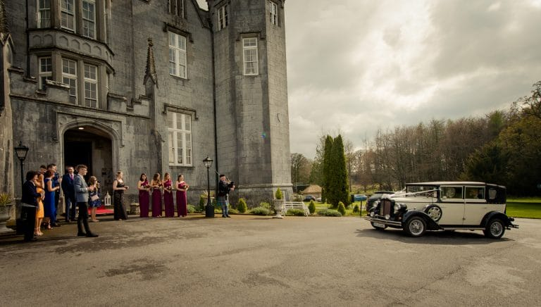 Classic car arriving at Kinnitty Castle Wedding