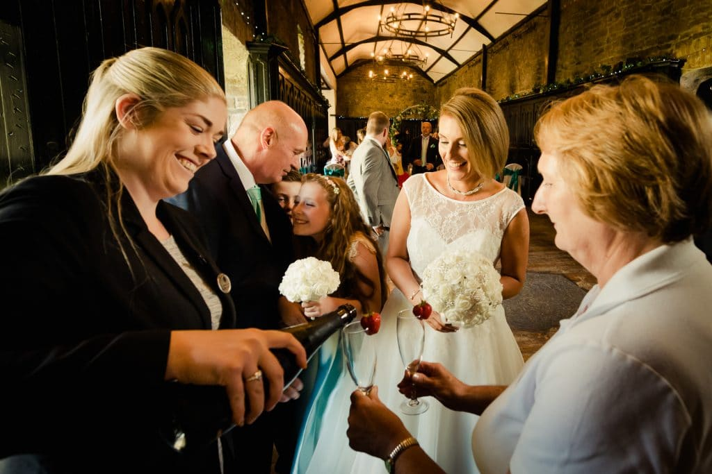 Champagne time for newlyweds at Kinnitty Castle