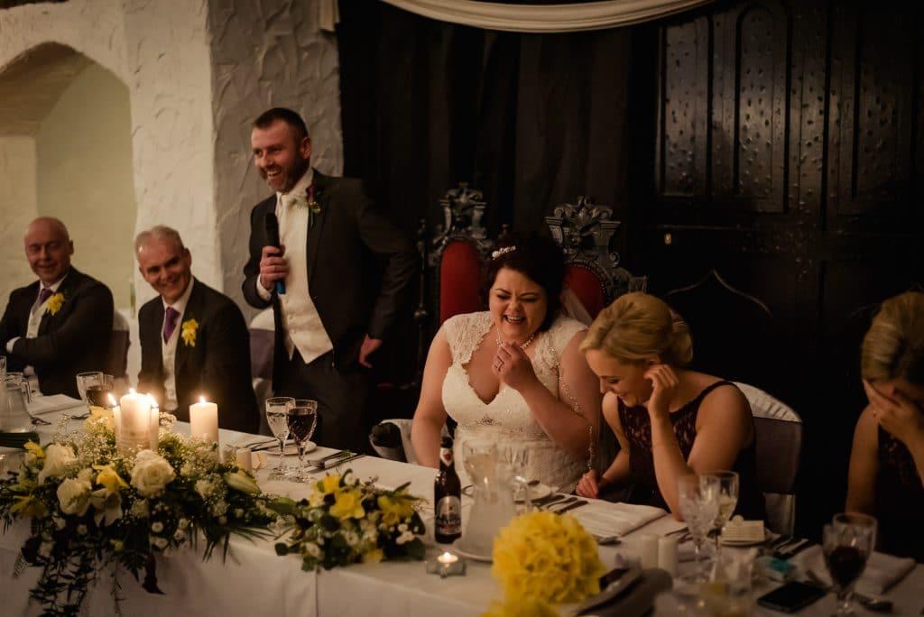 Wedding speech laughter in Kinnitty Castle