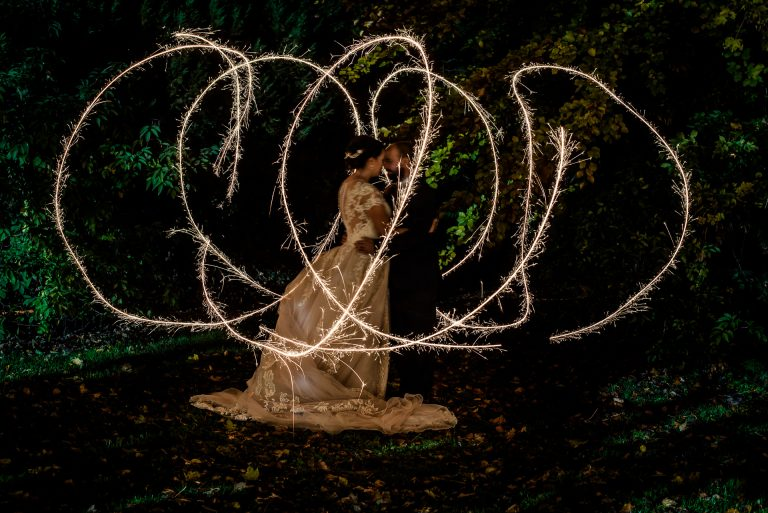 Wedding couple sparkler photo at Moyvalley Hotel