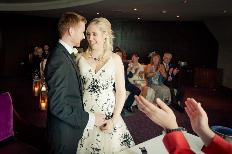 Bride and groom smiling during westgrove hotel civil ceremony