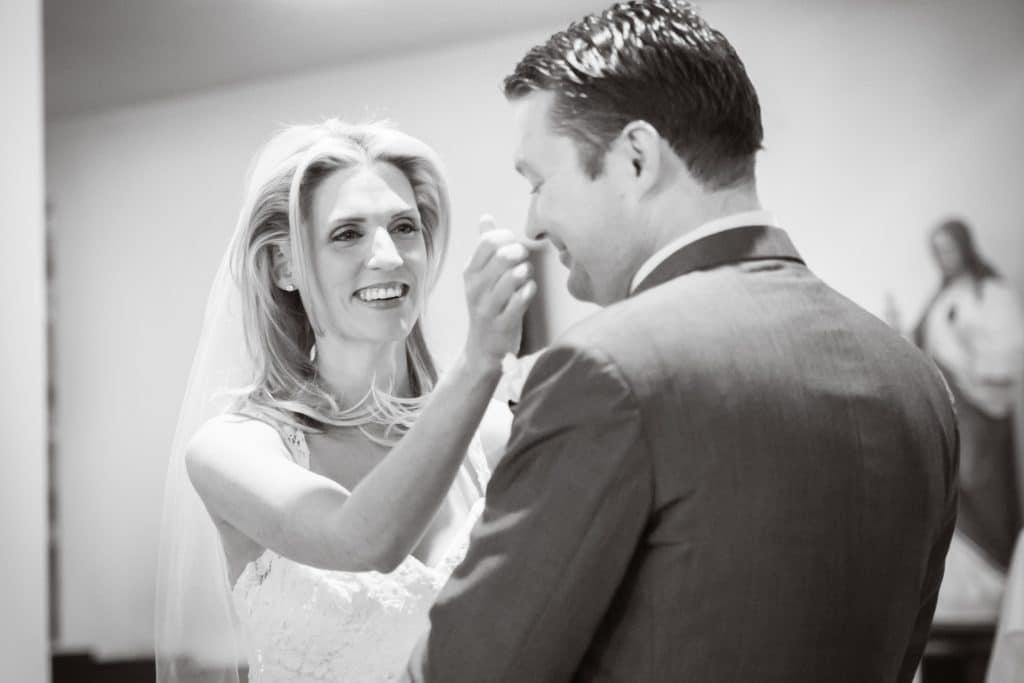 Kinnitty Wedding - bride wipes away groom's tears